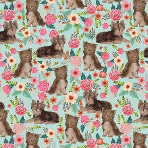 chocolate yorkie (smaller scale) fabric cute chocolate yorkshire terrier florals vintage style floral fabric cute christmas fabrics