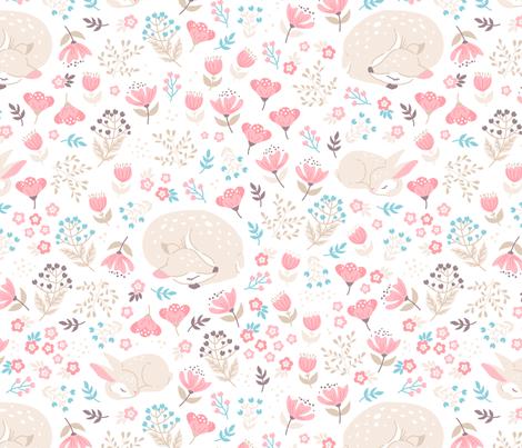 Sleep Well My Deer - light beige - small fabric by ewa_brzozowska on Spoonflower - custom fabric