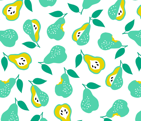 Jumbo school pears ditsy fabric by heleen_vd_thillart on Spoonflower - custom fabric