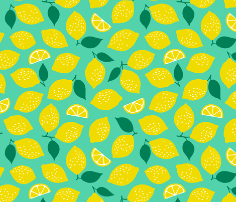 Jumbo summer lemons mint fabric by heleen_vd_thillart on Spoonflower - custom fabric