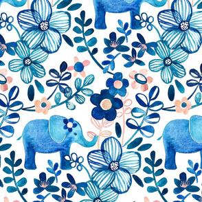 Little Blue Elephant Watercolor Floral on White - large print version
