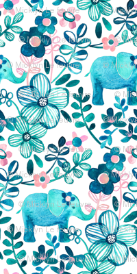 Little Teal Elephant Watercolor Floral on White - large print version