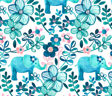 Little Teal Elephant Watercolor Floral on White - large print version fabric by micklyn on Spoonflower - custom fabric