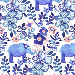 Little Purple Elephant Watercolor Floral on White - large print version