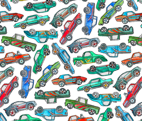 Toy Car Pile Up on White - extra large fabric by micklyn on Spoonflower - custom fabric