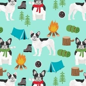 french bulldog camping outdoors nature dog breed fabric blue
