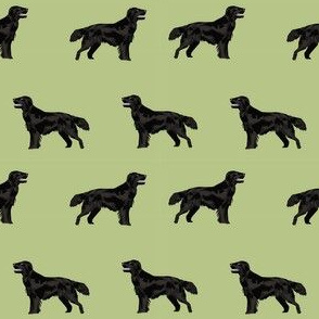 flat coated retriever simple dog breed fabric med green