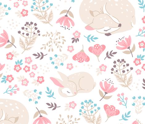Sleep Well My Deer - BIG - light beige fabric by ewa_brzozowska on Spoonflower - custom fabric