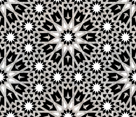 Tangier Tile Black & White {LARGE} fabric by schatzibrown on Spoonflower - custom fabric