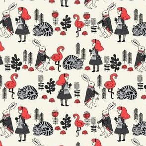 alice in wonderland // mini version alice, cheshire cat, storybook illustration