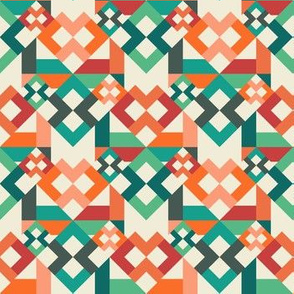 Geometric Layered Squares Origami Digital Pattern - Coral & Turquoise
