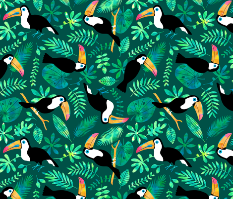 Jumbo Toucan Jungle watercolor green fabric by heleen_vd_thillart on Spoonflower - custom fabric