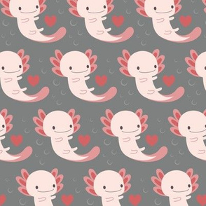 Axolotls hearts and bubbles (grey)