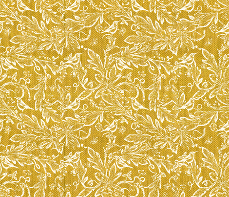 yellow bird garden fabric by mypetalpress on Spoonflower - custom fabric