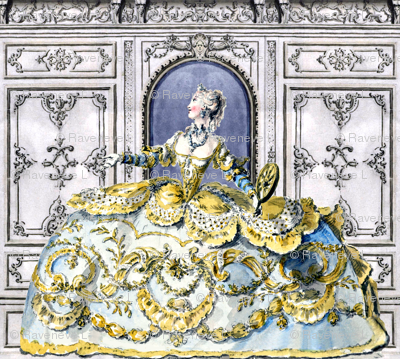 Marie Antoinette inspired princesses white yellow gowns baroque victorian flowers floral applique festoon door wall swirls scrolls filigree leaves decoration leaf ballgowns rococo beautiful woman lady beauty elegant gothic lolita egl 18th pouf Bouffant ce