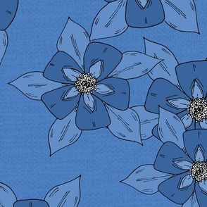 Blue Hand Drawn Flowers Illustrated Pattern