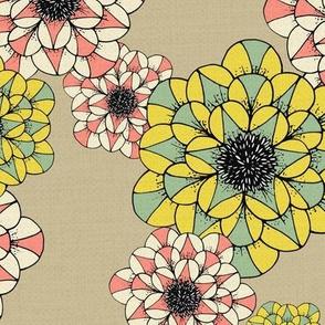 Abstract Sketch Pop-Art Flowers Pattern