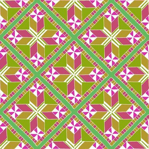 Green and Pink Diamond Tiles Pattern
