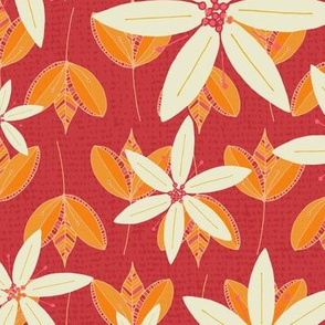 Orange and Red Flowers and Leaves Pattern