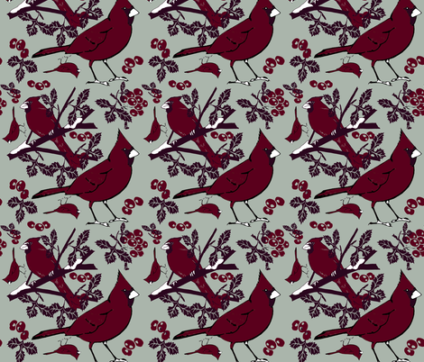 Cardinals holiday fabric by lorloves_design on Spoonflower - custom fabric