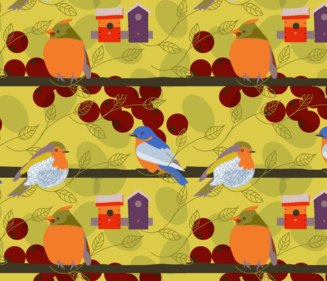 birds_ berries-01 fabric by marti_betz_design on Spoonflower - custom fabric