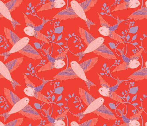 Scarlet Birds fabric by ceciliamok on Spoonflower - custom fabric