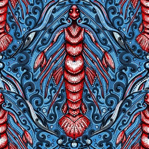 lobster merman damask