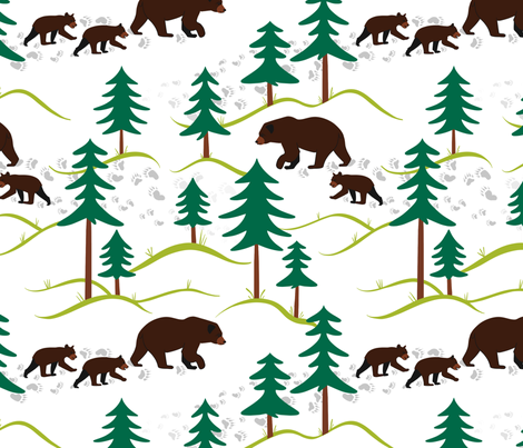 Mamma bear, baby bear (large) fabric by new_branch_studio on Spoonflower - custom fabric