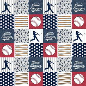 "(3"" small scale) Little Slugger Baseball Patchwork fabric - red blue pin stripes"