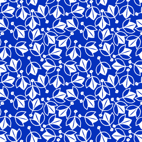 Young Buds on Blue fabric by siya on Spoonflower - custom fabric