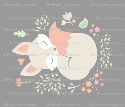Sleeping Fox - grey panel - VERTICAL
