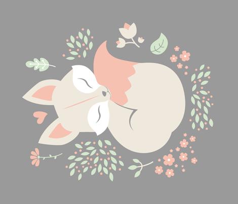 Sleeping Fox - grey panel - VERTICAL fabric by ewa_brzozowska on Spoonflower - custom fabric
