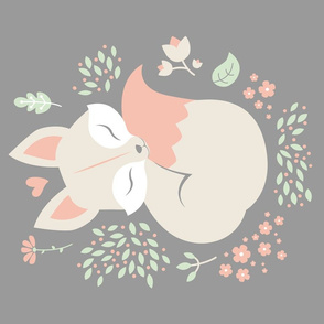 Sleeping Fox - grey panel - VERTICAL
