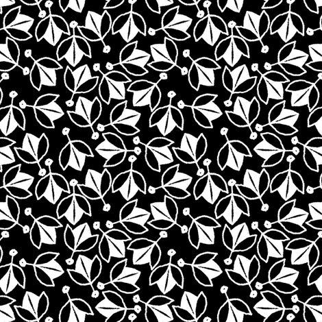 Young Buds on Black fabric by siya on Spoonflower - custom fabric