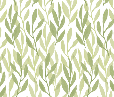 Watercolor Leaf, Celery fabric by kateriley on Spoonflower - custom fabric