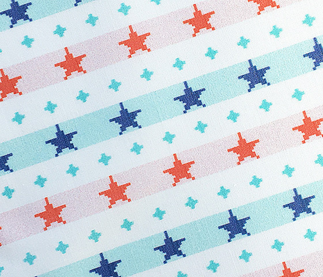 Double-Knit Stars & Stripes*  || polyester jacquard pixel double knit 70s retro groovy tee t-shirt shirt children childrens typography vintage patriotic red white blue star polka dots