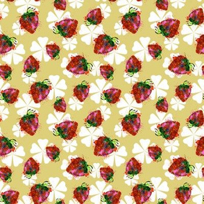 Strawberries and Tonal Yellow Flowers Background.