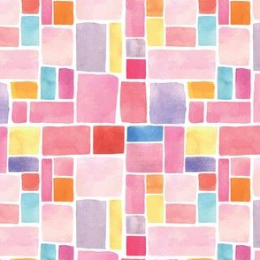 Pink Watercolour Squares