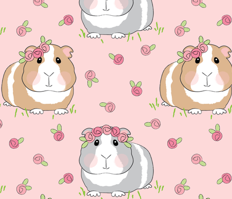 jumbo guinea pigs and pink roses fabric by lilcubby on Spoonflower - custom fabric