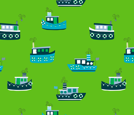 Tugboats fabric by lauriewisbrun on Spoonflower - custom fabric