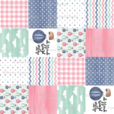 3 inch Hot Air Balloon//oh the places you'll go - wholecloth cheater quilt - rotated