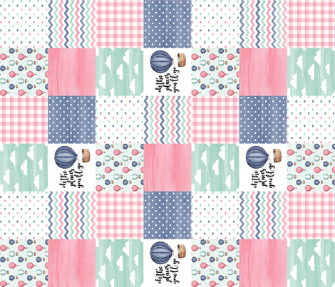 3 inch Hot Air Balloon//oh the places you'll go - wholecloth cheater quilt - rotated fabric by longdogcustomdesigns on Spoonflower - custom fabric
