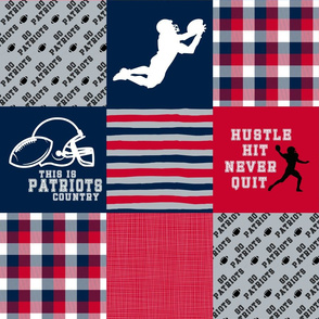 Football/Hustle Hit Never Quit - Patriots - Wholecloth Cheater Quilt