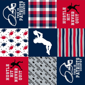 Football//Hustle Hit Never Quit - Patriots - Wholecloth Cheater Quilt - Rotated