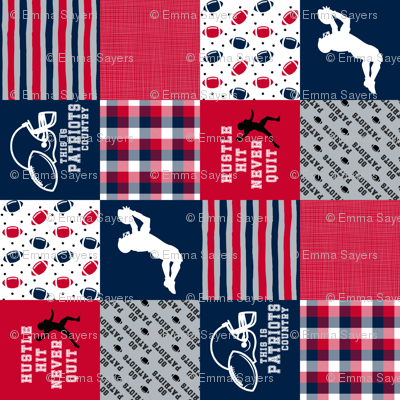 3 Inch - Football//Hustle Hit Never Quit - patriots - Wholecloth Cheater Quilt - Rotatted