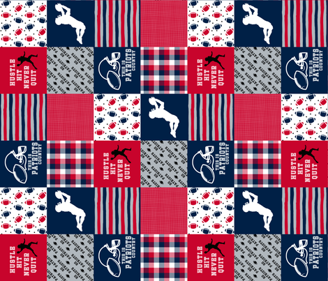 3 Inch - Football//Hustle Hit Never Quit - patriots - Wholecloth Cheater Quilt - Rotatted fabric by longdogcustomdesigns on Spoonflower - custom fabric