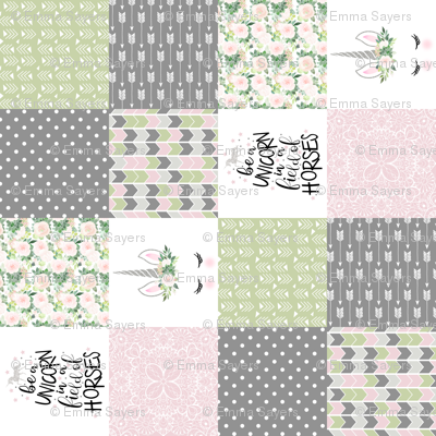 3 inch Be a unicorn - Baby Pink/Green - wholecloth cheater quilt - rotated