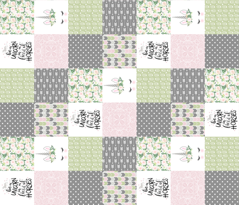 3 inch Be a unicorn - Baby Pink/Green - wholecloth cheater quilt - rotated fabric by longdogcustomdesigns on Spoonflower - custom fabric