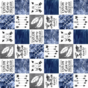 3 inch Adventure Awaits - Grey/Navy - Wholecloth Cheater Quilt - Rotated