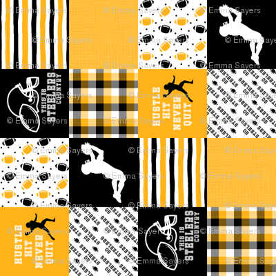 Football//Hustle Hit Never Quit Steelers - Wholecloth Cheater Quilt - Rotated
